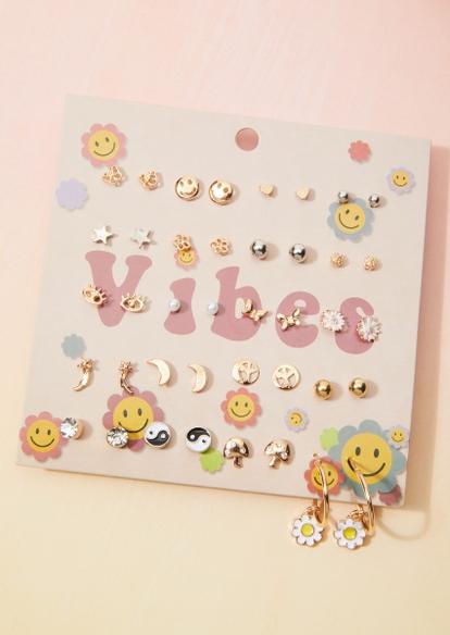 20-pack mixed metal daisy smiley face yin yang earring set - Main Image
