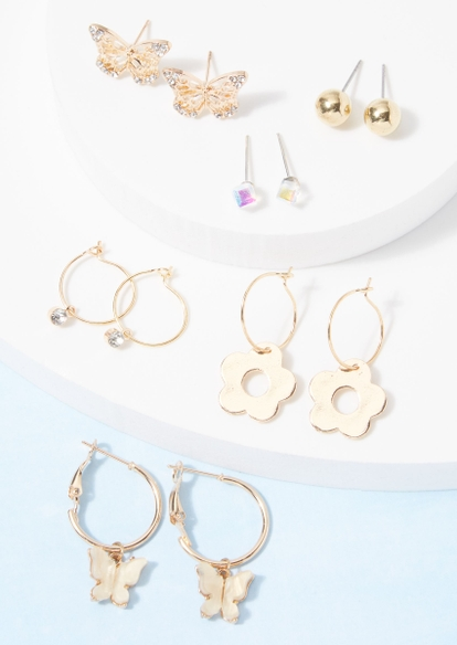 12-pack gold daisy butterfly earring set - Main Image
