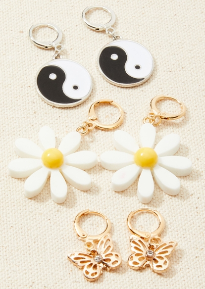 3-pack daisy yin yang huggie hoop earring set - Main Image