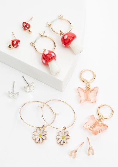 3-pack gold mushroom daisy huggie hoop earring set - Main Image