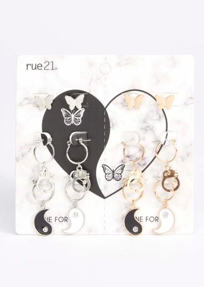 6-pack butterfly yin yang cuff earring set - Main Image