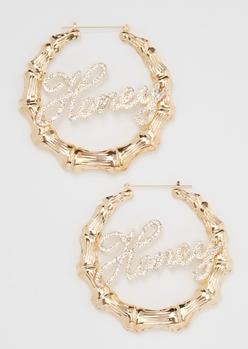 gold rhinestone honey hoop earrings - Main Image