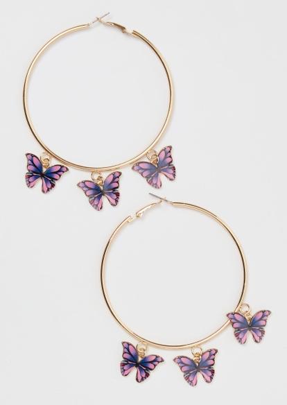 gold butterfly charm hoop earrings - Main Image