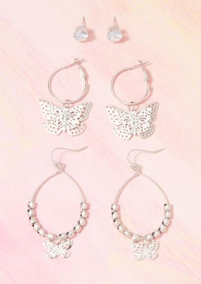3-pack silver butterfly hoop dangle earring set - Main Image