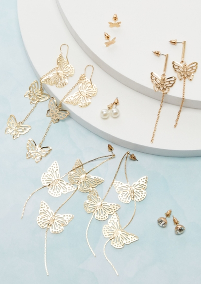 gold butterfly and pearl earring multipack - Main Image