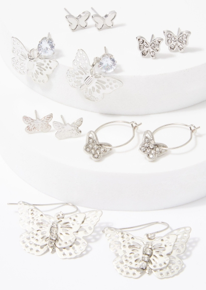 6-pack silver butterfly rhinestone earring set - Main Image