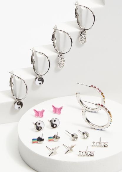 9-pack silver rainbow rhinestone yin yang earrings set - Main Image