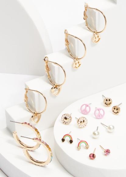 9-pack gold rainbow rhinestone smiley face earrings set - Main Image