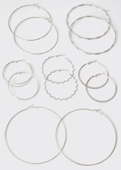 6-pack silver assorted hoop earring set - Main Image