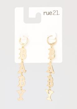 gold baby mini hoop drop earrings - Main Image