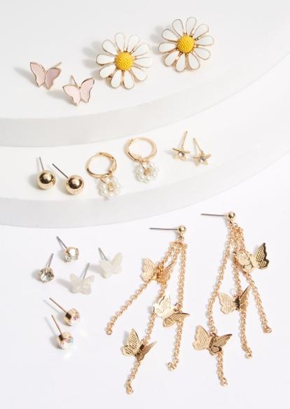 gold toned daisy star thread earring set - Main Image