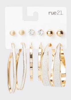 6-pack glittery rhinestone earring set - Main Image