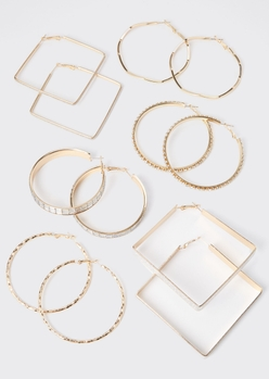 6-pack gold square glitter hoop earring set - Main Image