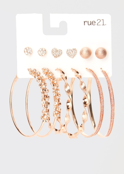 6-pack rose gold twist rhinestone heart earring set - Main Image