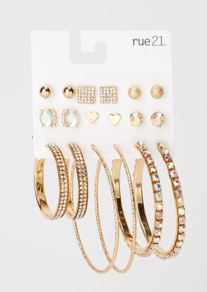 9-pack gold heart earring set - Main Image