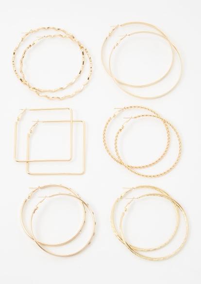 6-pack gold multi shape hoop earring set - Main Image
