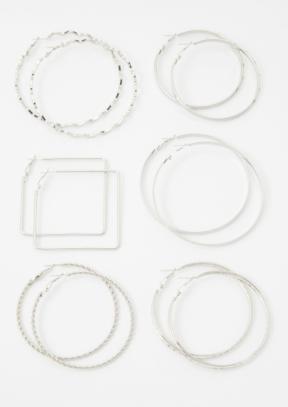 6-pack silver multi shape hoop earring set - Main Image