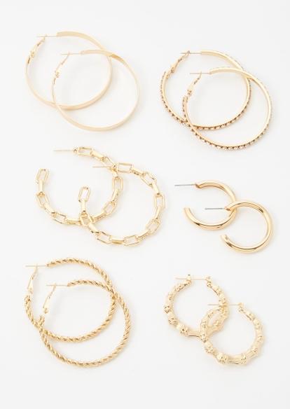 6-pack gold multi size hoop earring set - Main Image