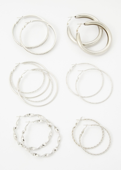 6-pack silver multi size hoop earring set - Main Image