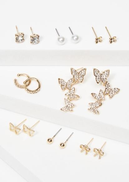 8-pack gold butterfly rhinestone pearl earrings set - Main Image
