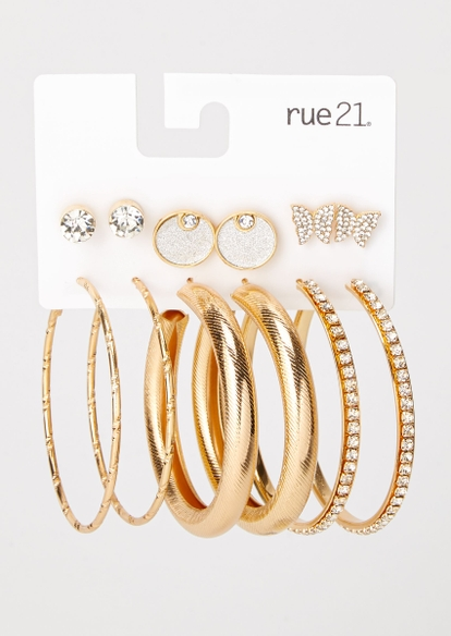 6-pack gold butterfly earring set - Main Image