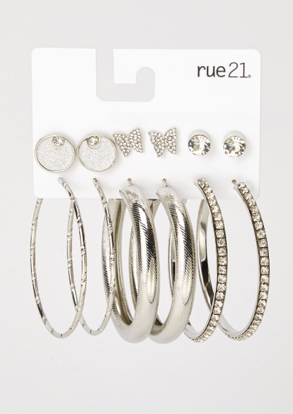 6-pack silver butterfly earring set - Main Image