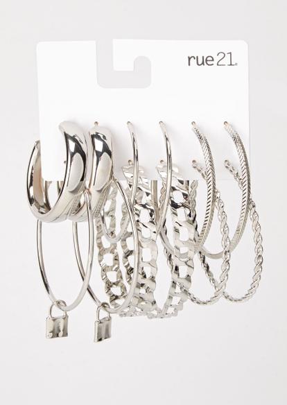 6-pack silver lock hoop earrings - Main Image
