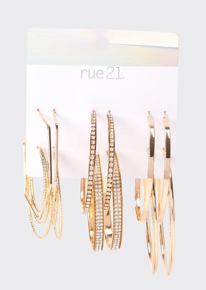 6-pack gold rhinestone geo hoop earring set - Main Image