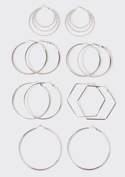 6-pack silver rhinestone geo hoop earring set - Main Image