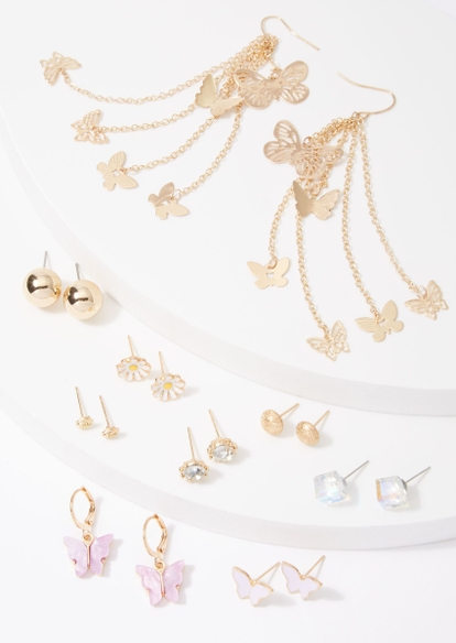 20-pack gold butterfly daisy threader earring set - Main Image