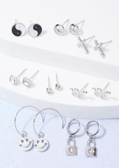16-pack silver smiley snake lock earring set - Main Image