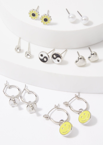 14-pack silver smiley earring set - Main Image