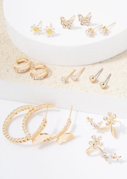 6-pack gold butterfly rhinestone hoop earring set - Main Image