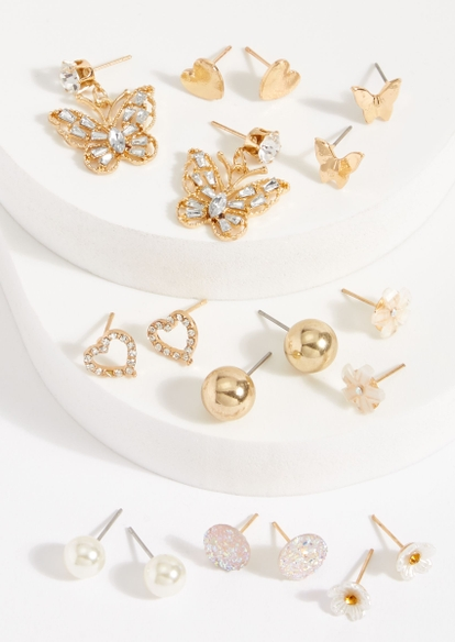 9-pack gold butterfly heart peal earring set - Main Image