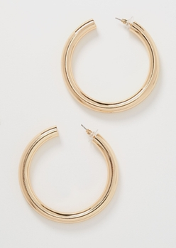 gold chunky hoop earrings - Main Image