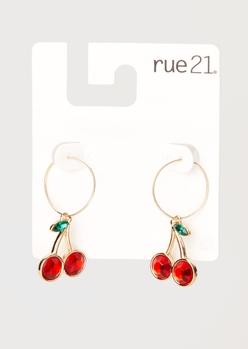 gold cherry charm mini hoop earrings - Main Image