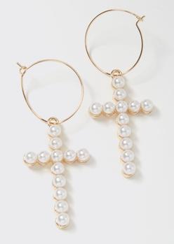 gold pearl cross charm hoop earrings - Main Image