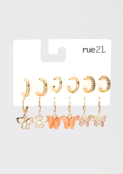 6-pack gold butterfly huggie hoops set - Main Image