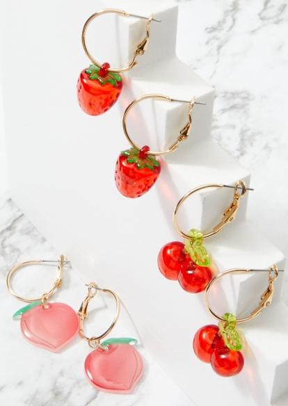 3-pack fruit huggie hoop earring set - Main Image