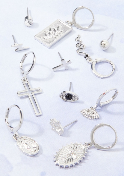12-pack silver mismatched earring set - Main Image