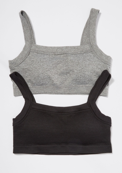 2-pack gray and black hacci seamless bralette set - Main Image