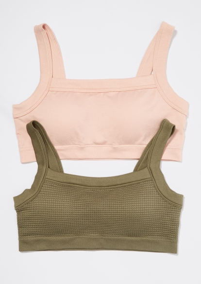 2-pack olive and pink hacci seamless bralette set - Main Image