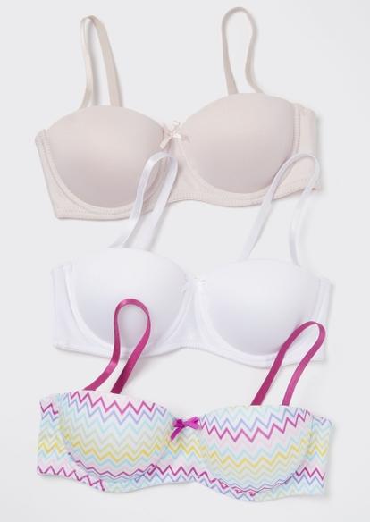 3-pack chevron print balconette bras - Main Image