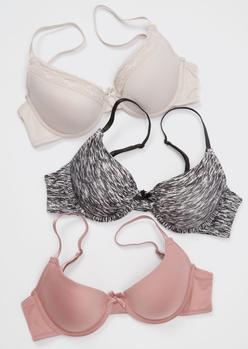 3-pack mauve space dye lace t-shirt bra set - Main Image