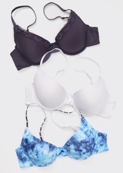 3-pack blue tie dye love strap t shirt bra set - Main Image