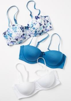 3-pack blue paint splattered balconette bra set - Main Image