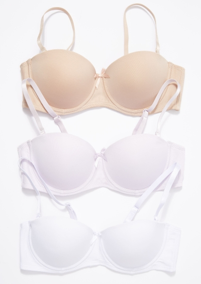 3-pack neutral solid convertible bra set - Main Image