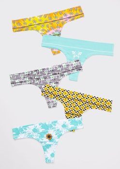 5-pack floral print tie dye thong undies set - Main Image