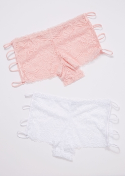 light pink lace strappy boyshort undies - Main Image