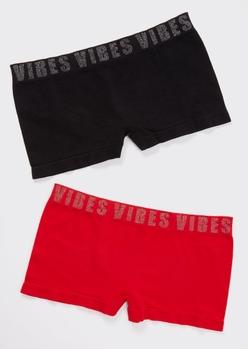 2-pack red sparkle vibes boyshort undies set - Main Image